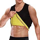 Cimkiz Mens Sauna Vest Sweat Body Shaper Slimming Waist Trainer Neoprene Tank Top Shapewear Shirt Workout Suit no Zip Black L
