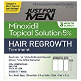 5% Minoxidil Extra Strength Hair Regrowth Treatment by Just For Men, Topical Solution for Hair Loss, Thinning & Balding, Unscented, Includes Dropper, 3 Month Supply