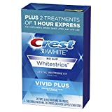 Crest 3D White Whitestrips Vivid Plus Teeth Whitening Kit, Individual Strips (10 Vivid Plus Treatments + 2 1hr Express Treatments), Basic Flavorless Whitestrips, 24 Count