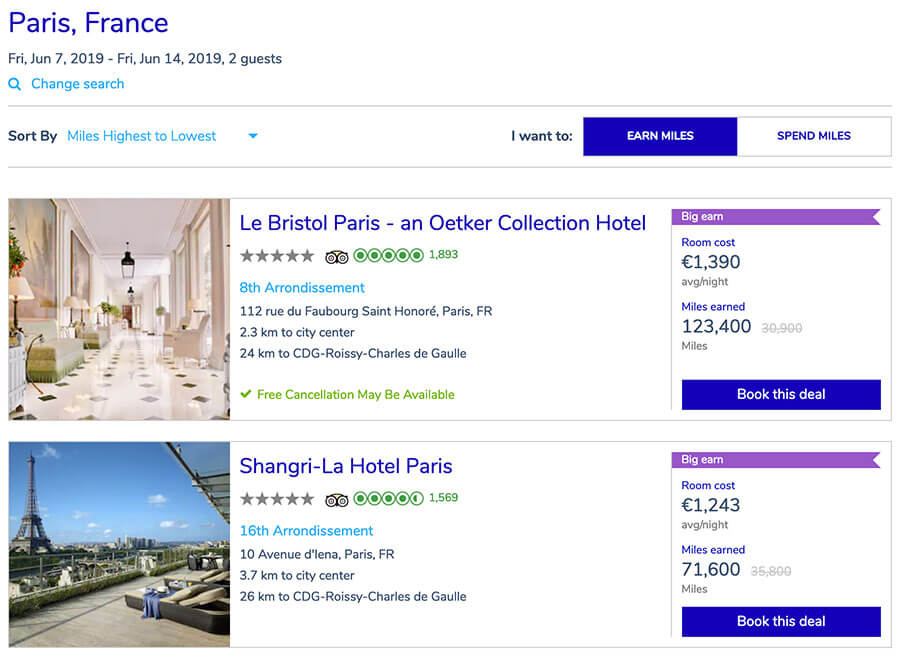 hotelsformiles air france