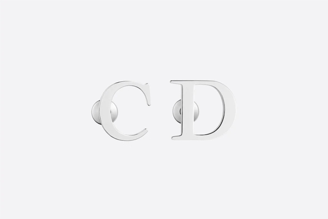 C and D silver earrings from Dior