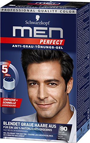 Schwarzkopf Men Perfect Anti-Grau-Tönungs-Gel, 90 Natur Schwarz, 3er...