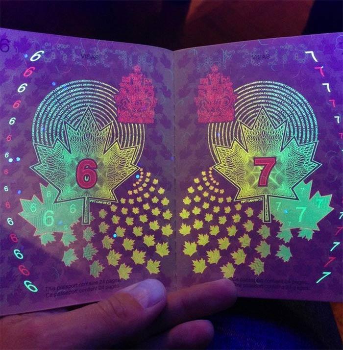 passeport canadien sous lumière noire