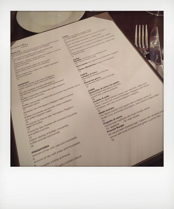 menu mozzarella and vino new york