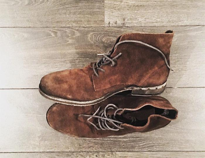 boots allsaints homme daim marron