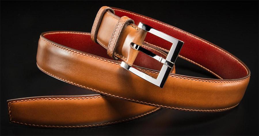 ceinture en cuir marron pour homme