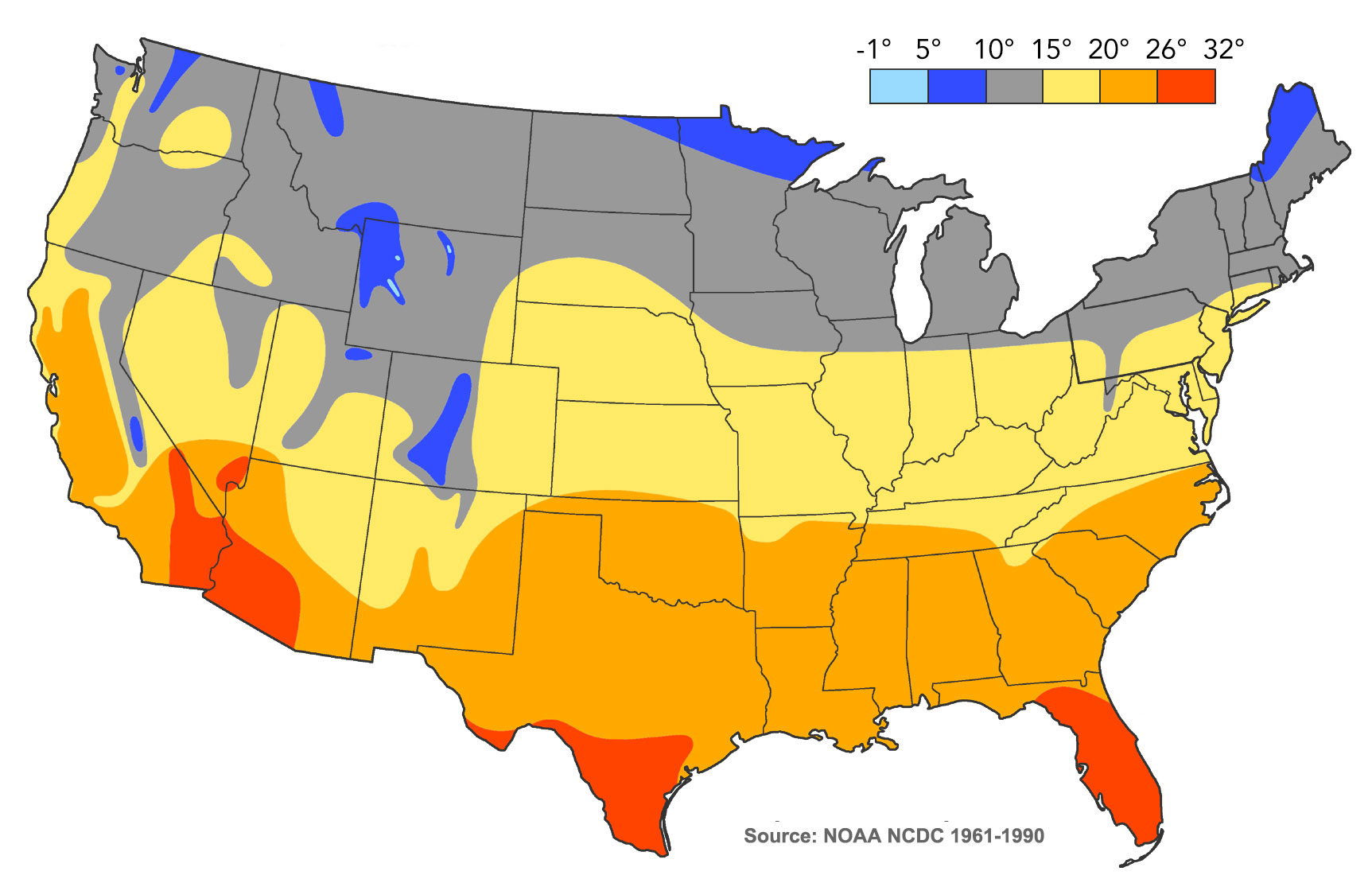 temperatures annuelles moyennes aux usa