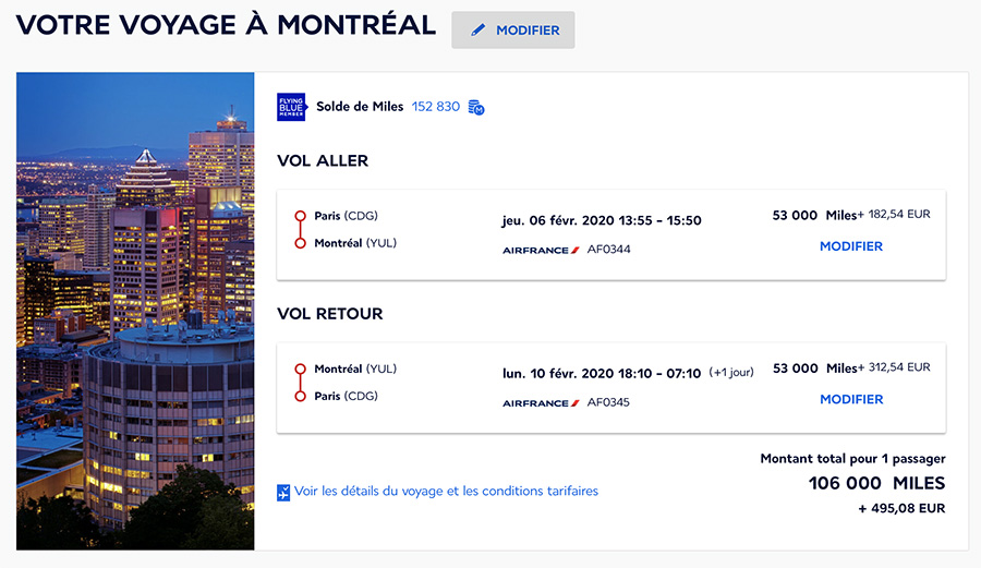 miles paris montreal air france business
